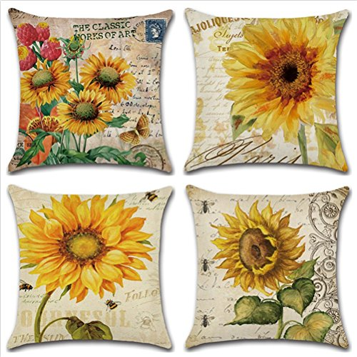 WERSEA Decorative Vintage Floral Design Square Linen Throw Pillow Cover, Burlap Pillow Case Cushion Cover for Living Room Couch, Set of 4 - Sunflowers 18 x 18 Inches