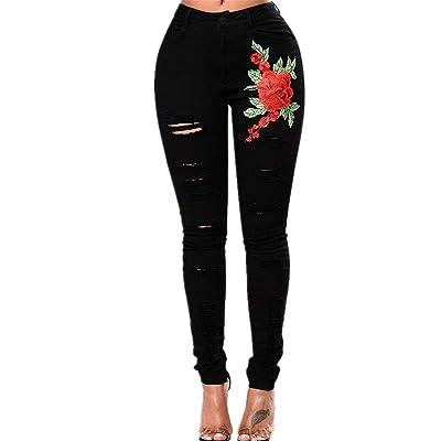 ADELINA Ladies Jeans Bordado Rosa con Agujeros De Mezclilla Ropa Pantalones Botón De Cintura Alta con Bolsillos Pantalones Vaqueros Acogedores (Color : Colour, Size : L): Ropa y accesorios