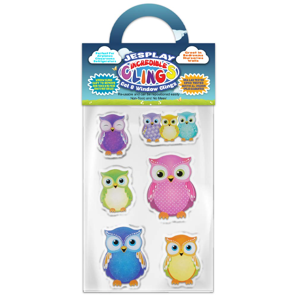 Toddlers Nursery Walls Bedrooms Puffy Classrooms Wise Nocturnal Incredible Gel Decals for Glass Planes Screech Tawny Owls Thick Gel Clings Incredible Removable Window Clings for Kids