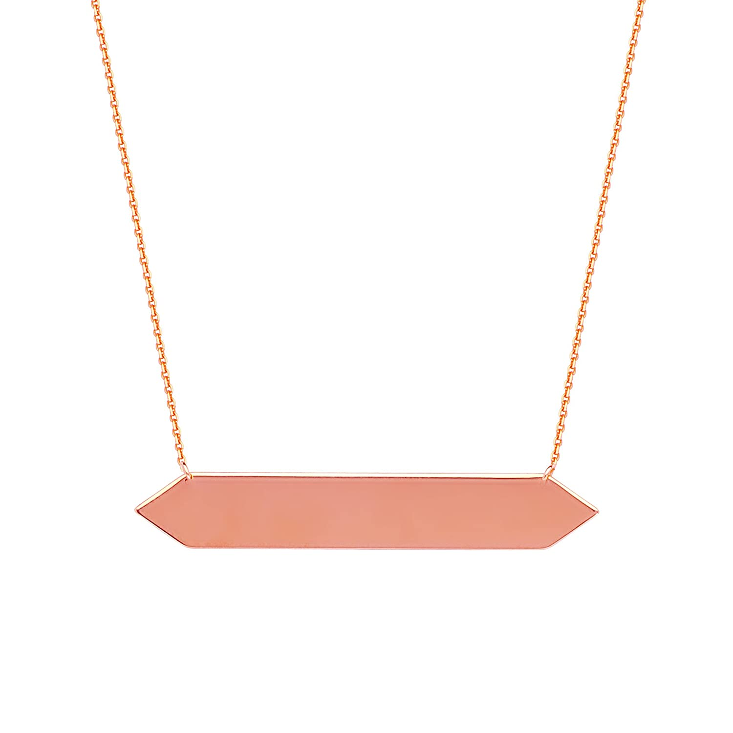 14Kt Gold Bar Necklace 18 Inches Bar Necklace