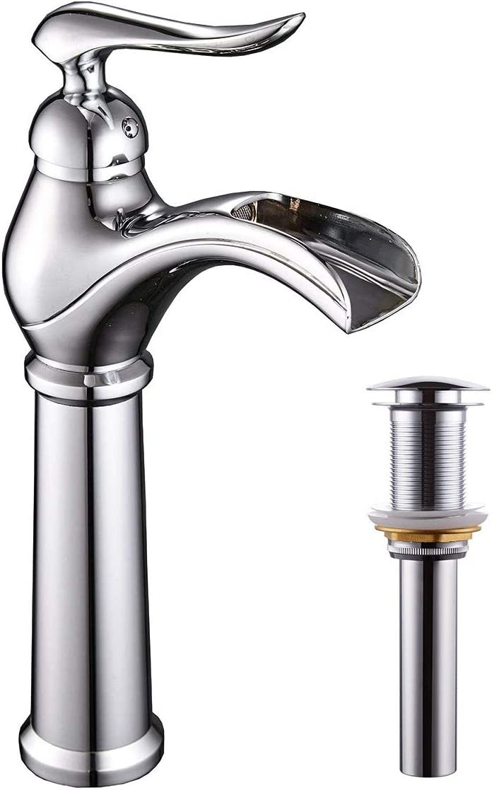 Greenspring Bathroom Vessel Sink Faucet Waterfall Single Handle Faucets Tall Body Chrome Finished