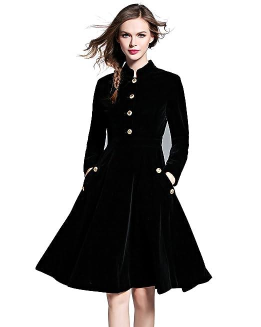 LAI MENG Vestido Plisado de Mujer Vintage Terciopelo A-Line Vestidos De Noche EU 36