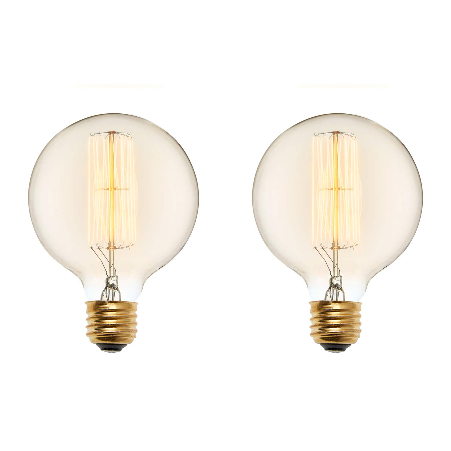 2 G40 Vintage Bedford Bulbs, Warm White, Dimmable, Cage Filament, 40W (E26)