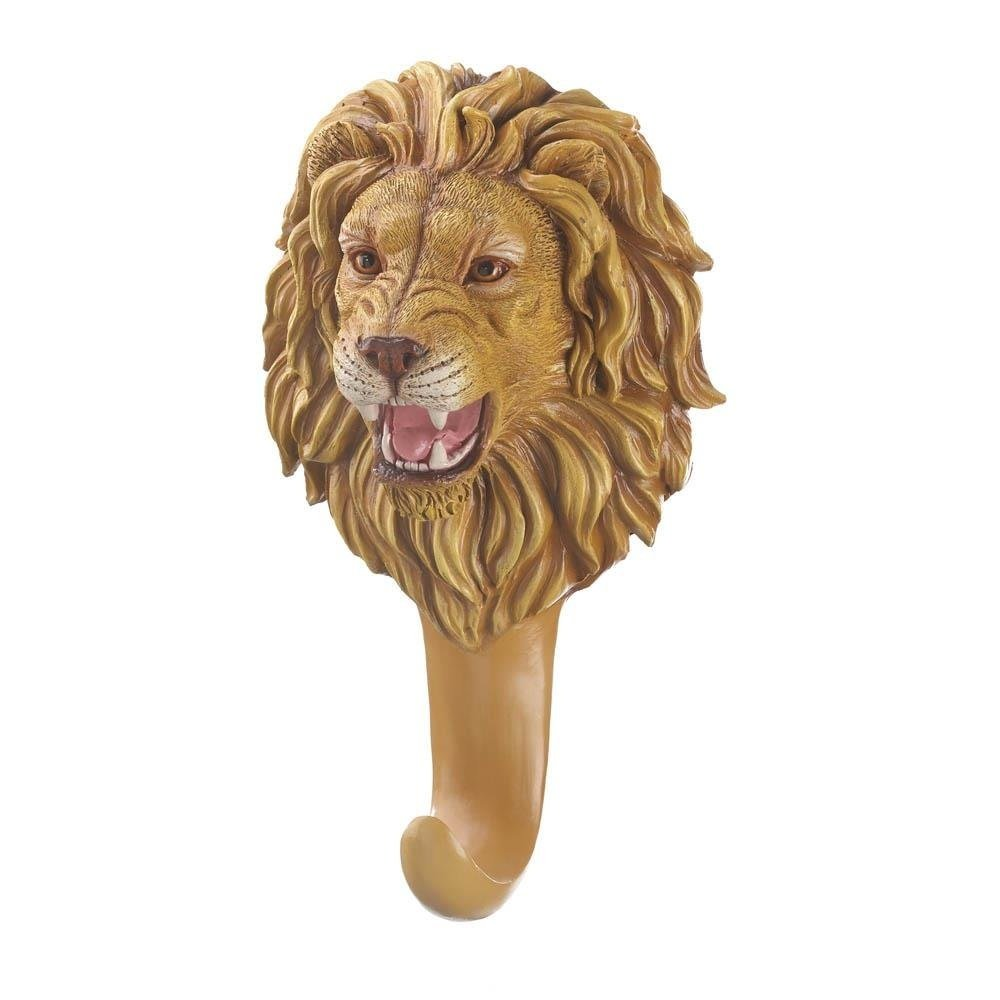 Coat Hooks Wall Mounted, Ferocious Lion Kitchen Wall Hooks Decorative, Polyresin by Accent Plus