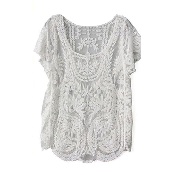 Amonfineshop Blumen Semi Sheer Hemd-T-Shirt Spitze-Häkelarbeit-Spitzenbluse  (weiß 03a9949e98