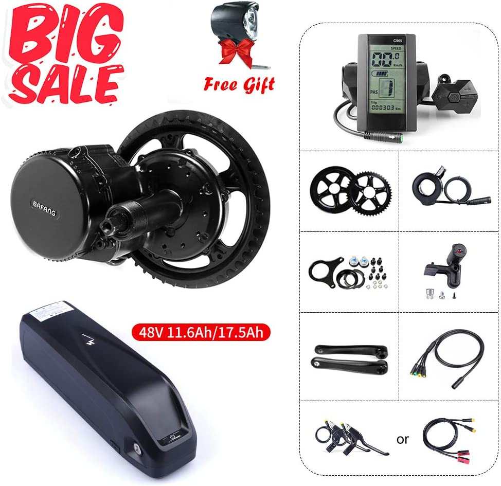 BAFANG BBS01B 48V 350W Mid Motor Drive System Kits Electric Bike Conversion Kit Ebike Accessories, Optional 48V 11.6Ah 17.5Ah Battery with Charger