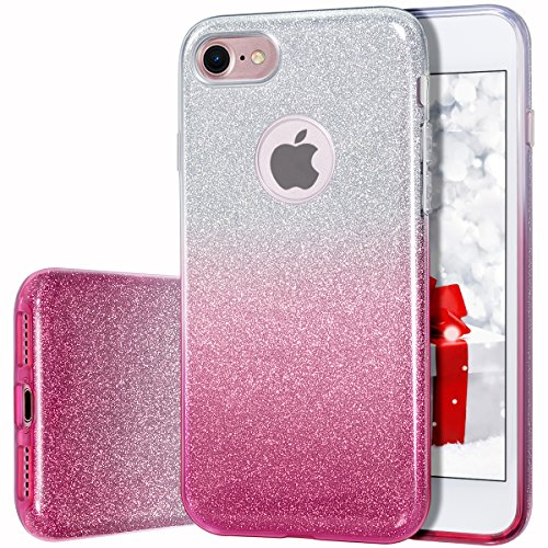 iPhone 7 Case, MILPROX Bling Luxury Glitter Pretty Cute Premium 3 Layer Hybrid Anti-Slick/Protective/Soft Thin TPU Case for Girls/Women 4.7 iPhone 7 - Pink Silver