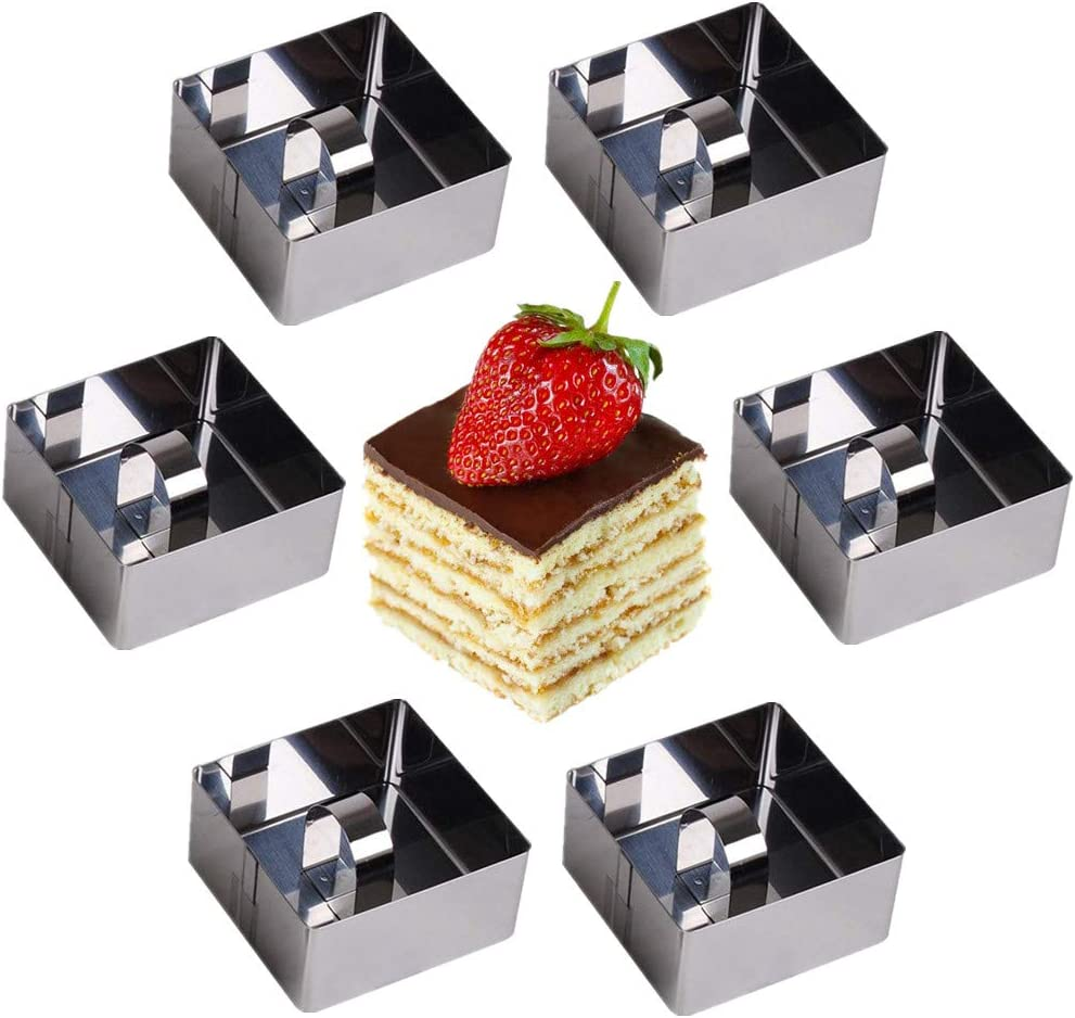 OnePine Stainless Steel Cooking Rings Dessert Rings Mini Cake and Mousse Ring Mould Set with Pusher(Square 6pcs)