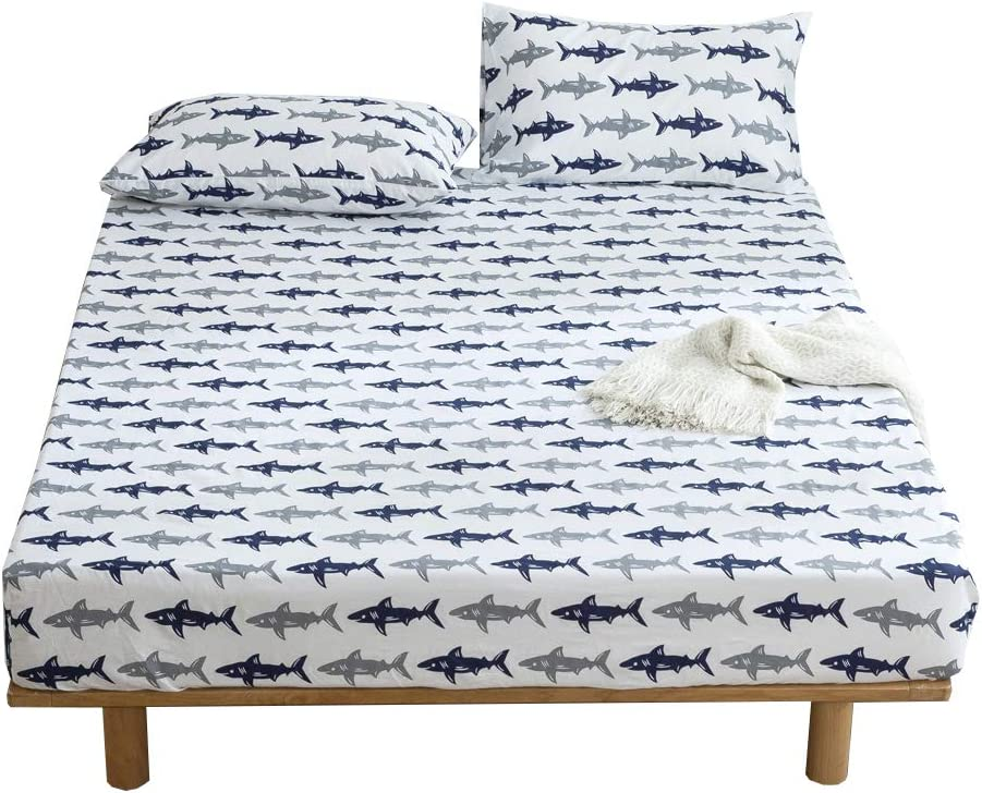 BuLuTu Navy Blue/Grey Shark Print Deep Pocket Fitted Bed Sheet Twin Cotton White-Breathable, Durable and Comfortable,Premium Single Bottom Fitted Sheet ONLY,No Pillowcases