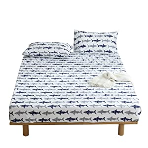BuLuTu Navy Blue/Grey Shark Print Deep Pocket Fitted Bed Sheet Queen Cotton White-Breathable, Durable and Comfortable,Premium Single Bottom Fitted Sheet ONLY,No Pillowcases