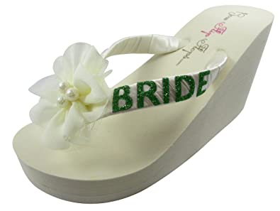 41961f688833 Image Unavailable. Image not available for. Colour  Bride Wedge Flip Flops  Wedding Bridal Bling Ivory Platform ...