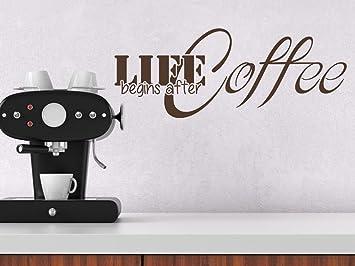 Küchentattoos  Wandtattoo-bilder® Wandtattoo Life begins after Coffee Nr 2 Kaffee ...