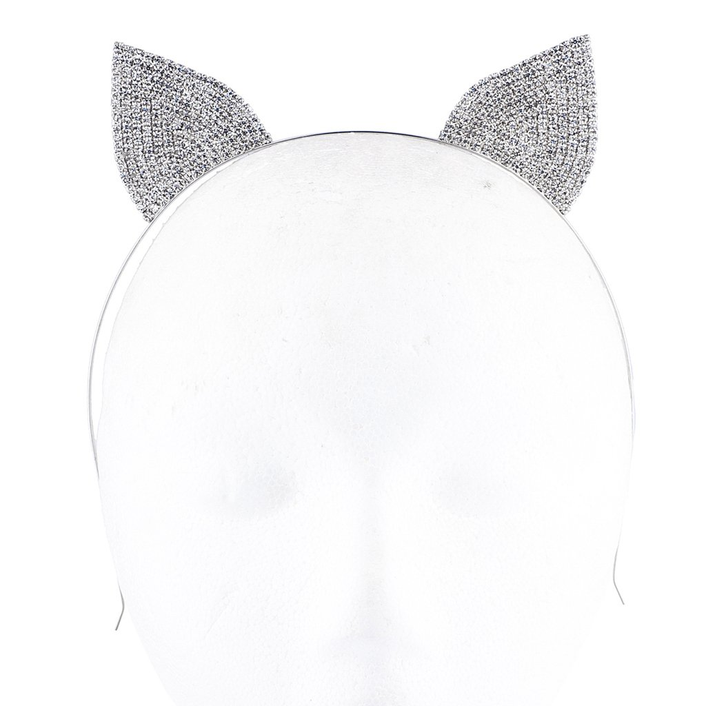 Amazon.com: Lux Accessories Silver Tone Crystal Pave Rhinestone Kitty Cat Ears Headband: Beauty