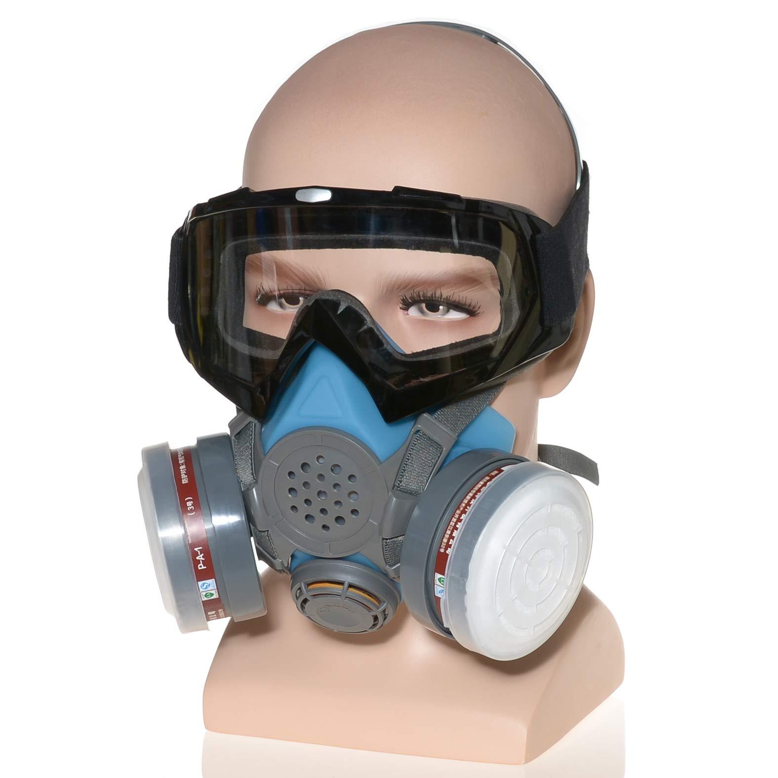 HXMY Industrial Gas Chemical Anti-Dust Spray Paint Polishing Sandblasting Respirator Mask Goggles Set