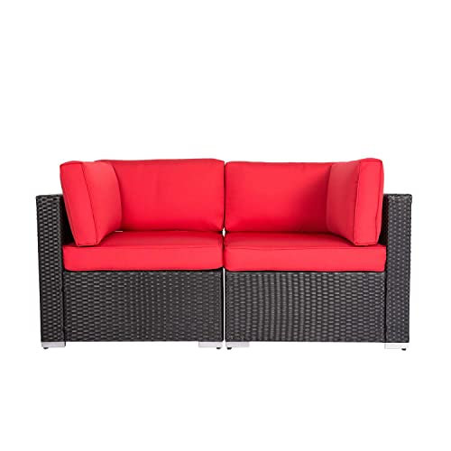 Patio PE Wicker Couch, 2-Seat Outdoor Black Rattan Loveseat Sofa Furniture with Red Cushion