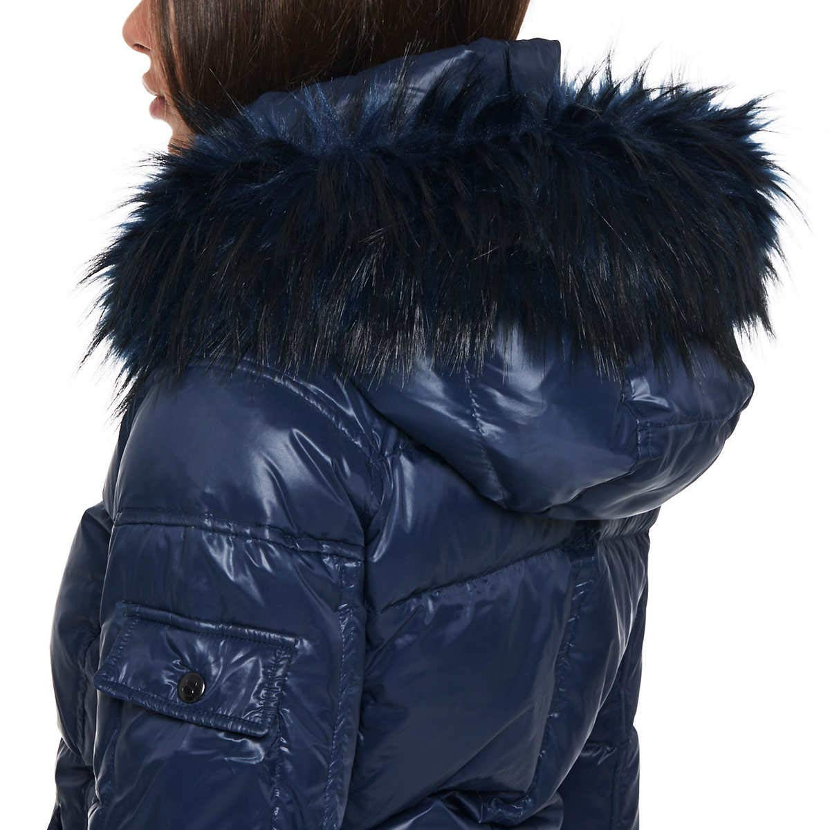 S13 Womens Kylie Faux Fur Trim Puffer Jacket