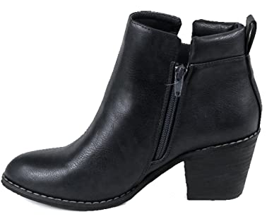 POLO-01 Womens Fashionable Stacked Heels Ankle Booties7 B(M) USBlack