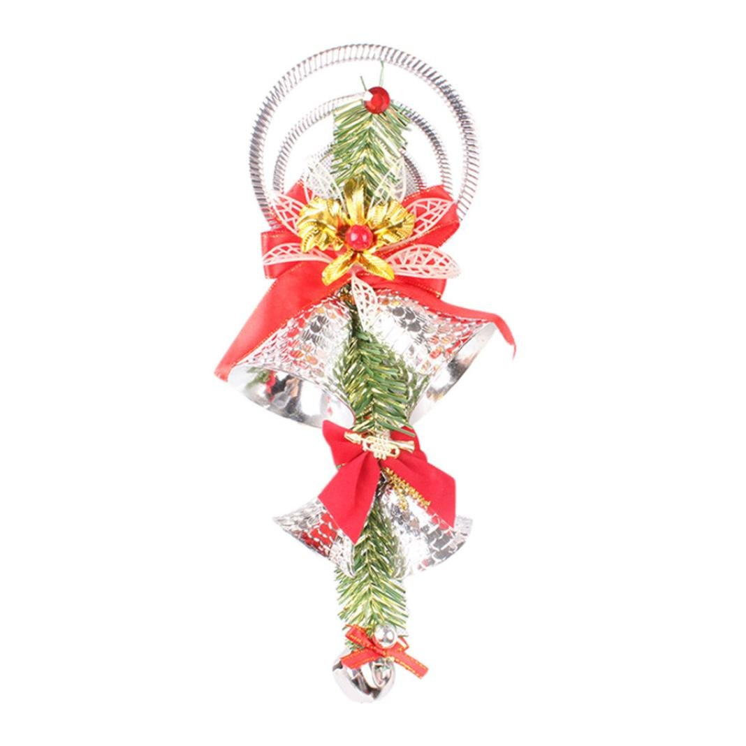 Lisin Christmas Party Tree Decoration Ornament,Christmas Bell String Hanging (Silver)