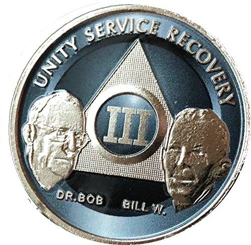 3 Year AA Founders Medallion Titanium Nickel Plated Anniversary Chip III ()