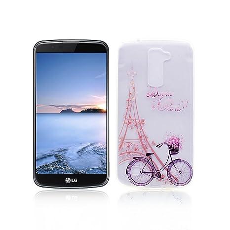 Funda LG K10 Carcasa Protectora OuDu Funda para LG K10 Caso Silicona TPU Funda Suave Soft Silicone Case - Torre & Bicicleta