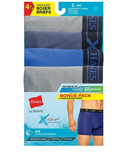 efce5f2a0ce Hanes P3+1 Bonus Assorted Dyed X-Temp Air Poly Boxer Brief at Amazon ...