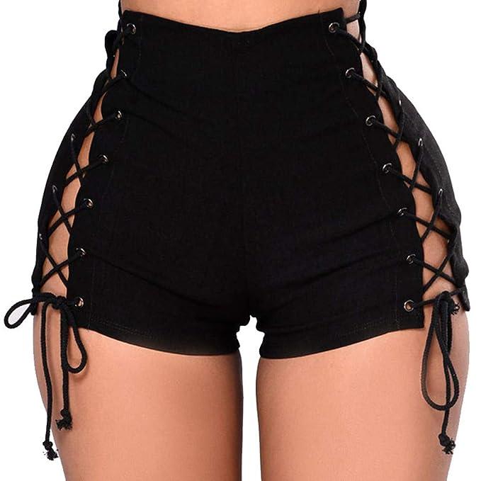Cocoty-store 2019 Pantalones Cortos Mujer Básicos Gimnasio Pantalones Cortos Mujer Verano Deporte Ajustados Cintura Alta Short Yoga Pantalones ...
