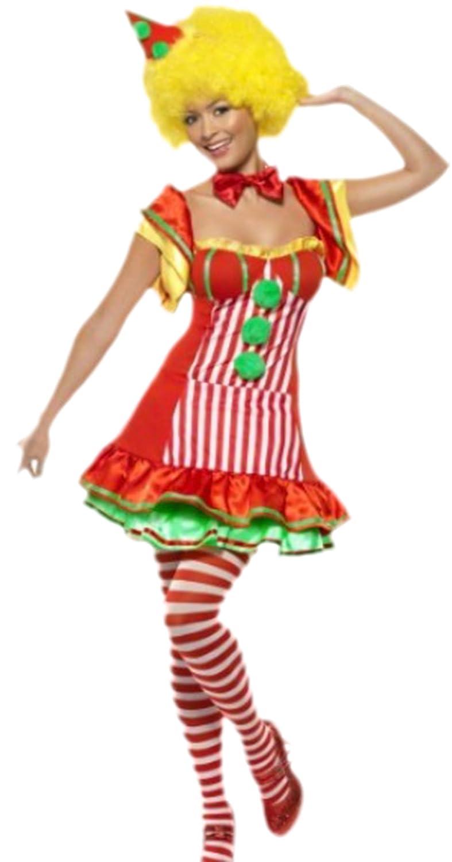 Halloweenia - Damen Karnevalskostüm Kleid Clown mit Hütchen Hütchen Hütchen , M, Rot 069328