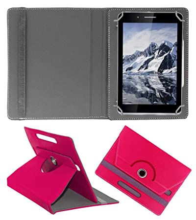 Acm Rotating Leather Flip Case Compatible with Iball Slide Octa A41 Cover Stand Dark Pink Tablet Bags, Cases   Sleeves