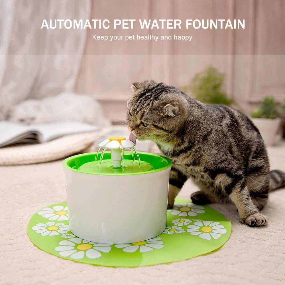 Fontana Acqua per Gatti e Cani Ducomi Tivoli Green Fontanella Automatica e Silenziosa con capacit/à 1,6 L Distributore Acqua Automatico con Filtro al Carbone Attivo Intercambiabile