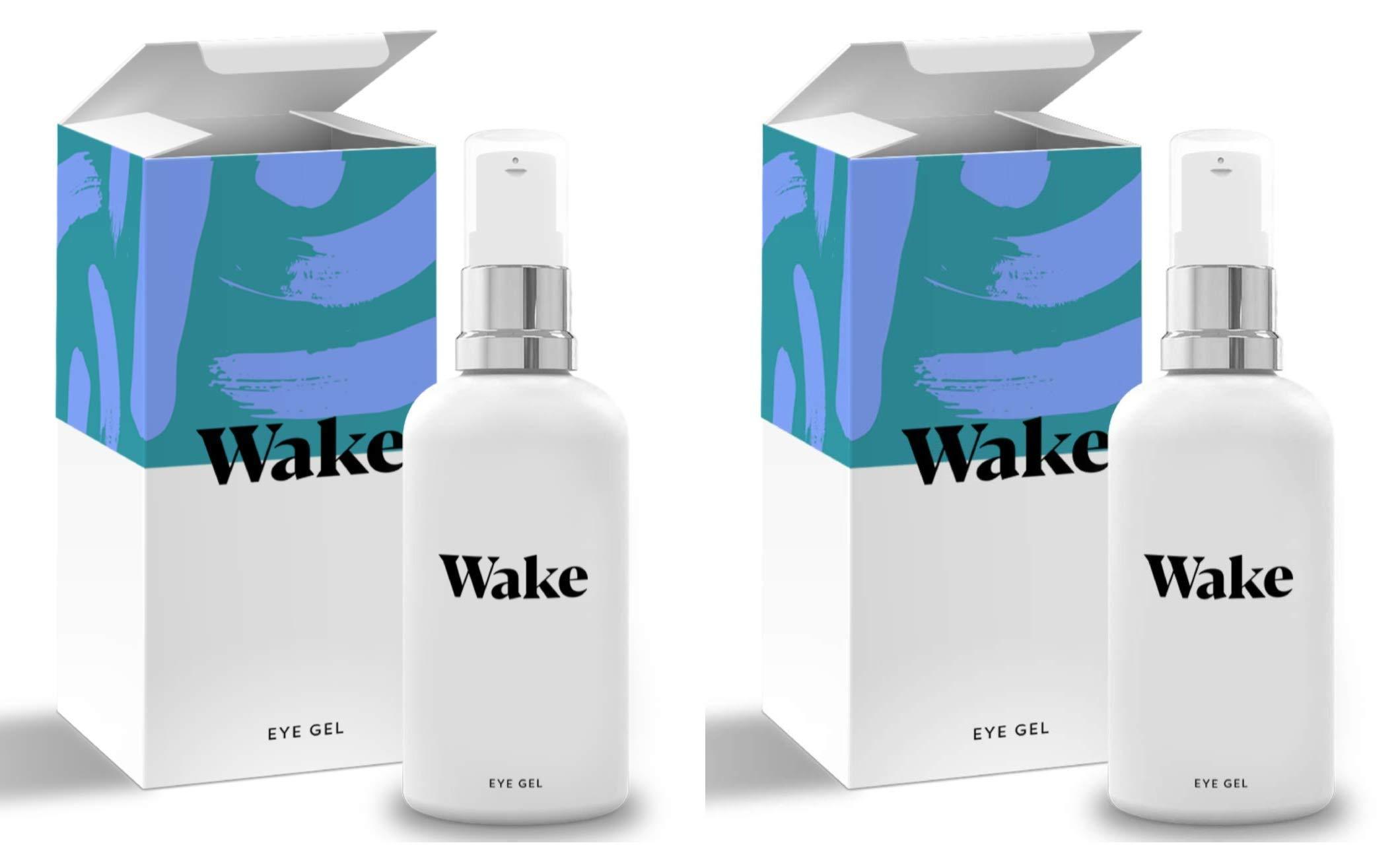 Wake Skincare Eye Gel - Hydrating Eye Serum for Puffy Eyes, Dark Circles, Eye Bags, Crows Feet and Wrinkles - Vitamin E - Collagen - 30ml Anti Ageing Eye Cream (2 Pack) by Wake (Image #1)