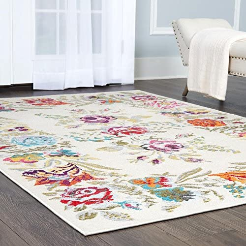 Clearance Home Dynamix Melody Devonia Modern Area Rug, Floral Ivory Blue Pink 7 10 x10 2