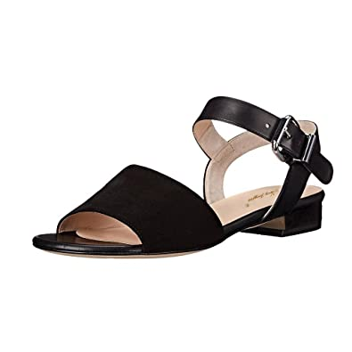7eb398ba4 NJ Women Open Toe Ankle Straps Flat Sandals Slingback Casual Block Low Heel  Summer Shoes Black