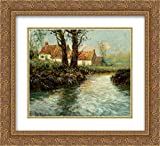 yhe edge - Frits Thaulow 2x Matted 24x20 Gold Ornate Framed Art Print 'House by yhe Water's Edge'