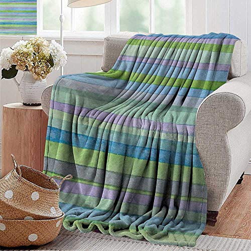 """XavieraDoherty Wearable Blanket,Blue,Hand Drawn Style Watercolor Striped Pattern Soft Colors Acrylic Paint Artwork,Blue Green Violet,300GSM, Super Soft and Warm, Durable 50""""x70"""""""