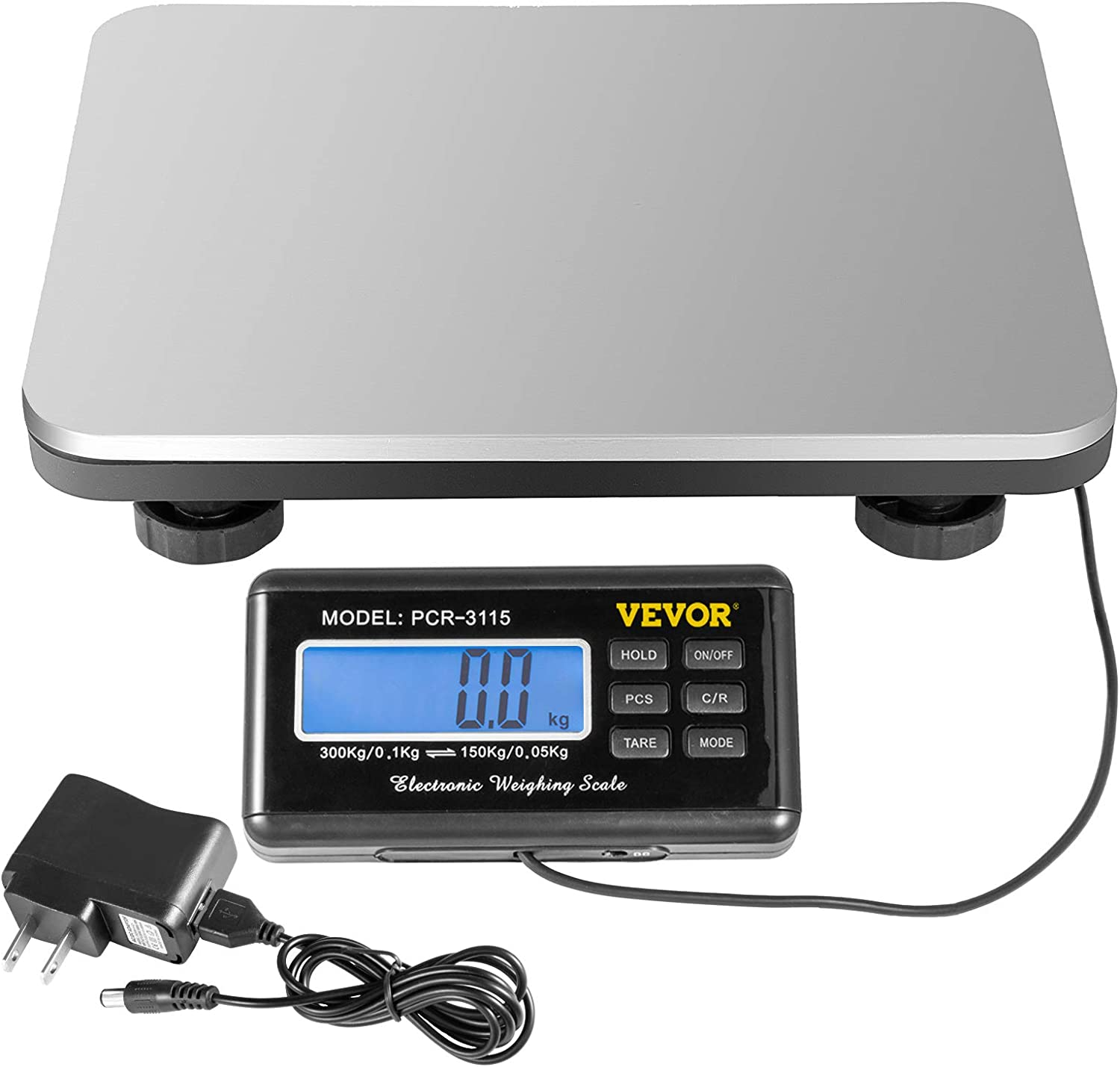 220V Digital Postal Scale Stainless Steel Rustproof Scale with Power Adapter LCD Screen for Post//Office//Warehouse 4 AA Battery VEVOR Postal Scale 660 lbs//0.1 kg Capacity Postal Weight Scale