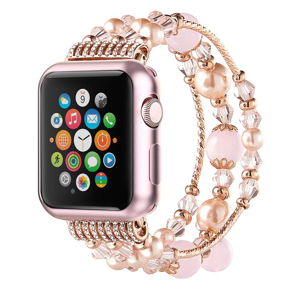 Anjoo Compatible for Apple Watch Band 42mm with Protective Rose Gold Case, Fashion Jewelry Elastic Stretch Pearl Bracelet Replacement Women Girls Strap for iWatch Series 3/2/ 1 - Pink