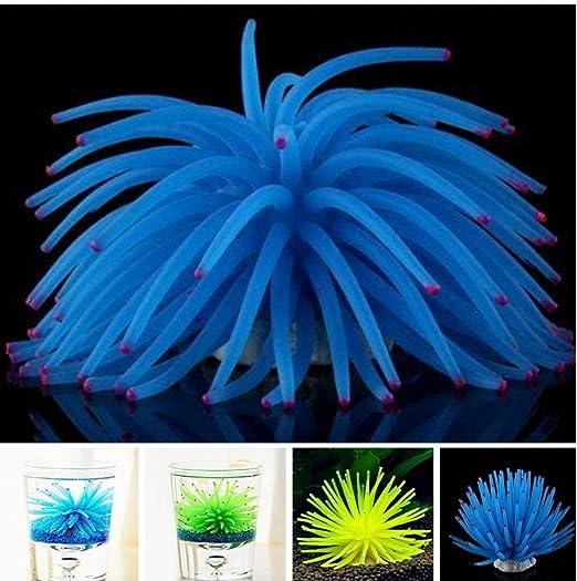 YiGo 1 Pc Azul decoración del Acuario Artificial Luminoso Erizo de ...