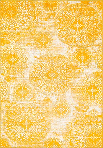 Unique Loom 3138712 Sofia Collection Traditional Vintage Beige Area Rug, 5' x 8' Rectangle, Yellow (Area Large Rug Yellow)