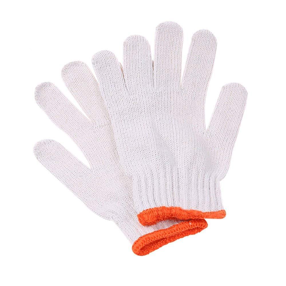 Aibada Guantes de Trabajo de Seguridad de Hilo de algodón Grueso Blanco, 12 Pares: Amazon.es: Hogar