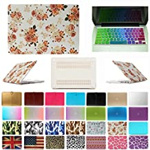"""Coosbo - 2in1 Fashion Matte Patterns Hard Case Cover for 13"""" 13.3"""" Apple Mac Macbook Air + Keyboard skin Accessories Gift (13"""" Air (Model:A1369,A1466), Floral)"""