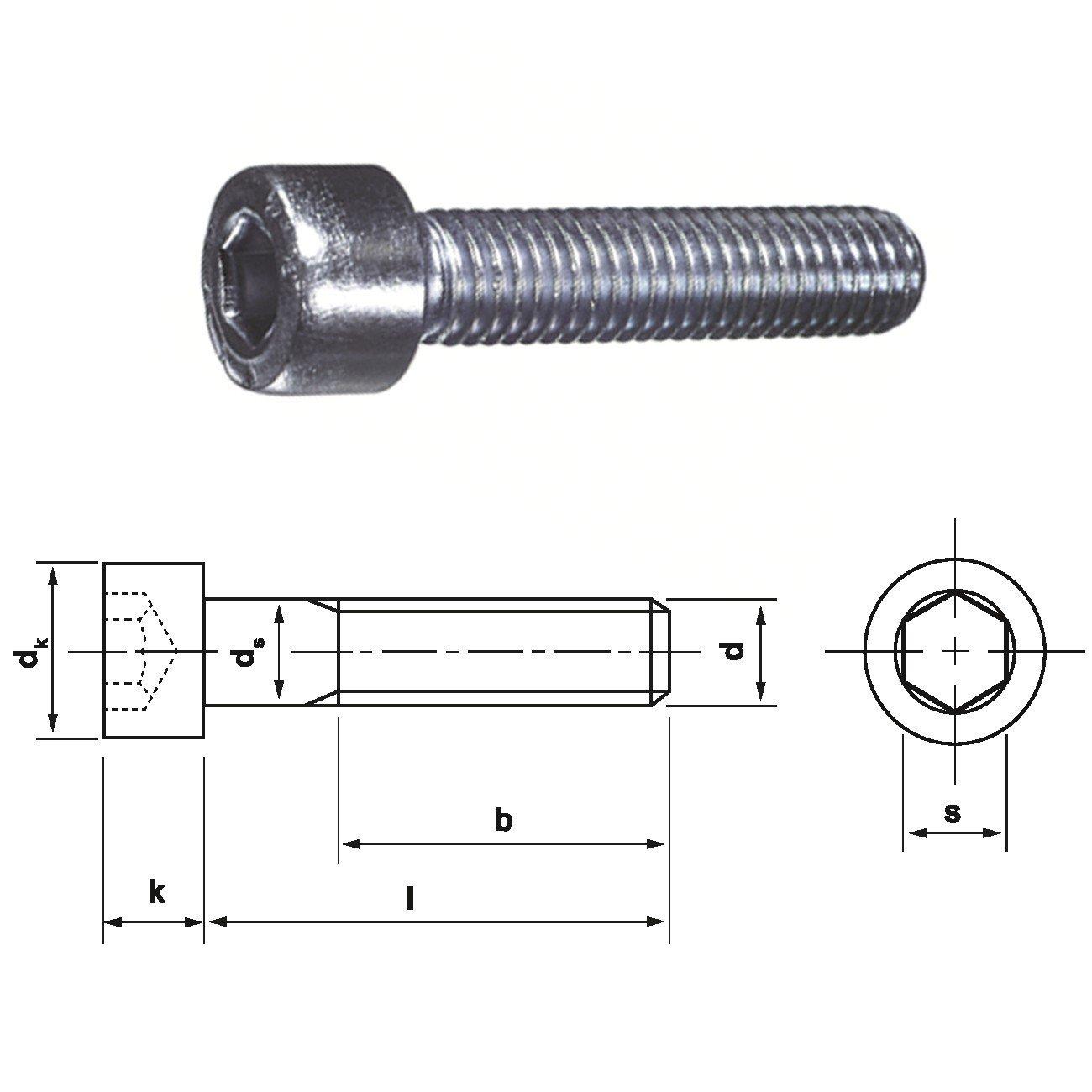 verzinkt Dresselhaus 0//0300//001//6,0//12// //01 Zylinderschrauben mit Innensechskant 8.8 DIN EN ISO 4762 galv M 6 x 12 500 St/ück