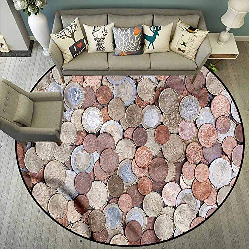 Living Room Round Mat,Money,Euros and Cent Coins,Anti-Slip Doormat Footpad Machine Washable,4'7