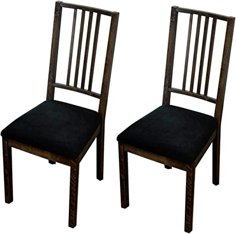 Amazon Com Argstar 2 4 6 Pack Velvet Dining Chairs Seat Cover Velvet Seats Cover For Dining Room Chair Kitchen Chair Cushion Cover Set Of 2 Black Home Kitchen