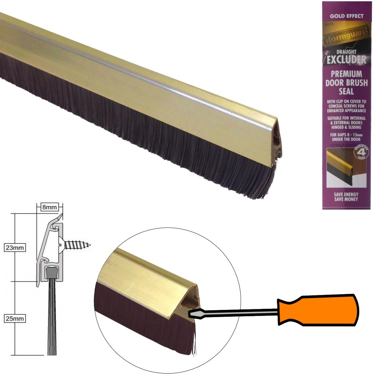 Inferior puerta cepillo de sellado con tapa de fijación oculta y color correspondiente cepillo - efecto oro 838mm: Amazon.es: Bricolaje y herramientas