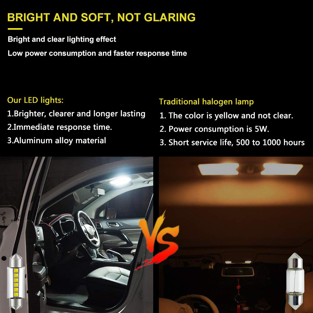 LncBoc T10 501 LED Bulbs W5W White 6-SMD 2016 LED 194 168 For Car Interior,Dashboard,Number Plate,Boot Sidelights Bulbs DC 12V one year warranty Pack of 2