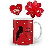 indibni Love Printed Best Quality Ceramic Mug,Red