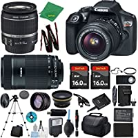 Canon Rebel T6 Camera + 18-55mm IS + 55-250mm STM + 2pcs 16GB Memory + Case + Memory Reader + Tripod + ZeeTech Starter Set + Wide Angle + Telephoto + Flash + Battery + Charger