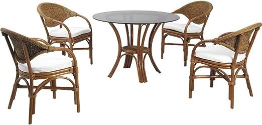 Conjunto de comedor cristal Mesa redonda de mimbre con 4 sillas ...