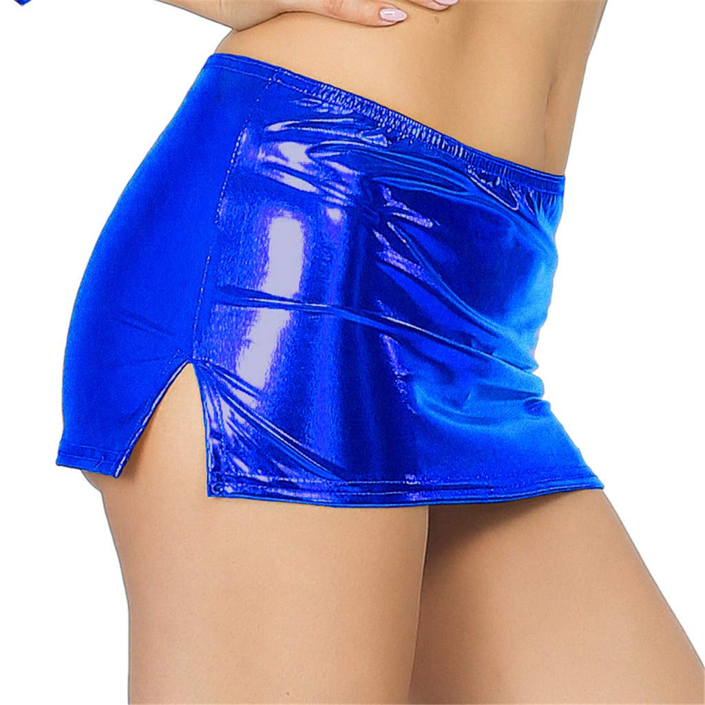 Sport Bra Pack,Women Sexy Leather Underwear Lingerie Patent Leather Night Skirt Sexy,Cell Phone Accessories,Blue,One Size