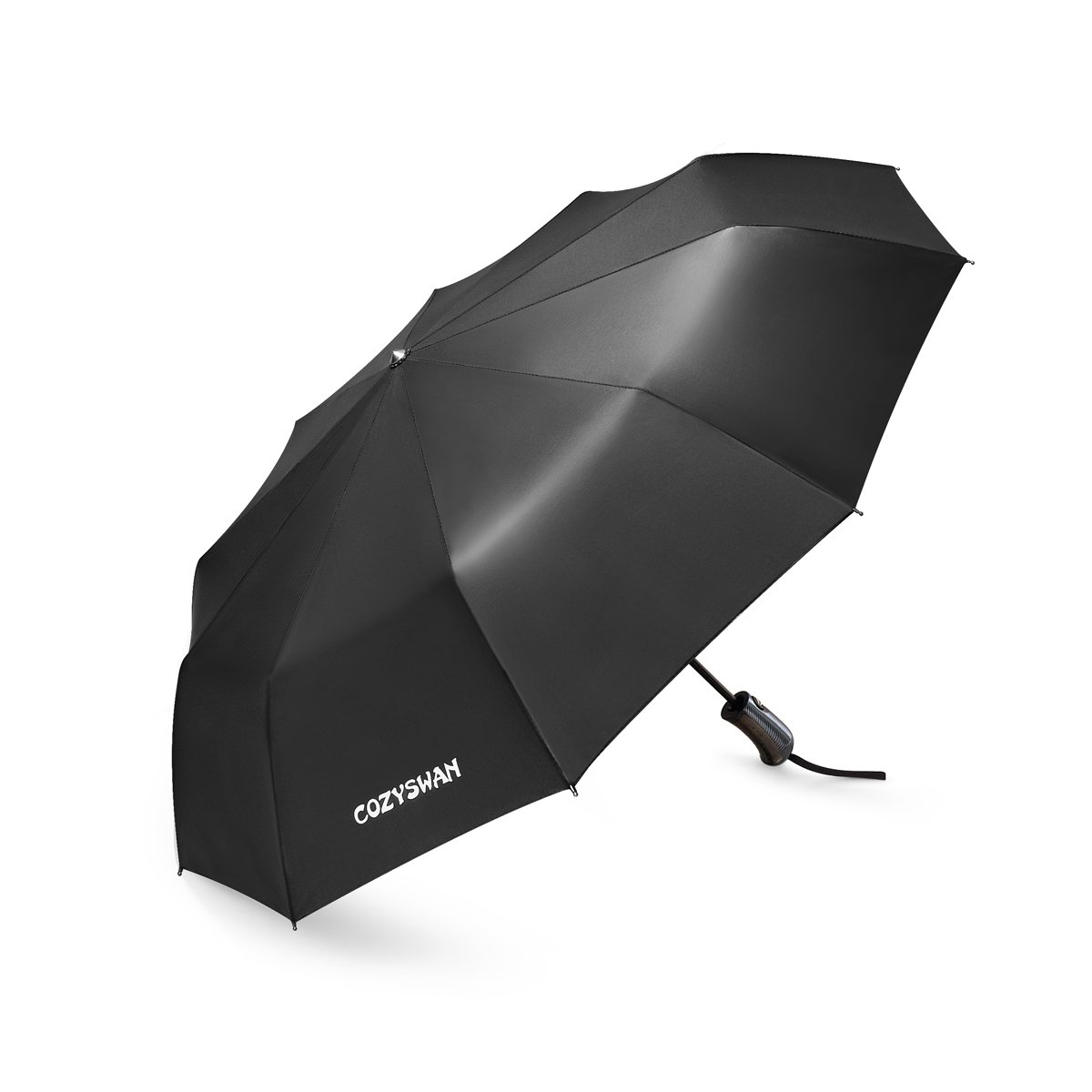 Umbrella, Cozyswan Travel Umbrella 210T Automatic Folding Umbrella with Sunscreen Function,Black (10 Ribs) by COZYSWAN (Image #1)